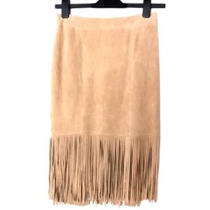 CUSP Neiman Marcus Suede Fringe Skirt Leather NWOT